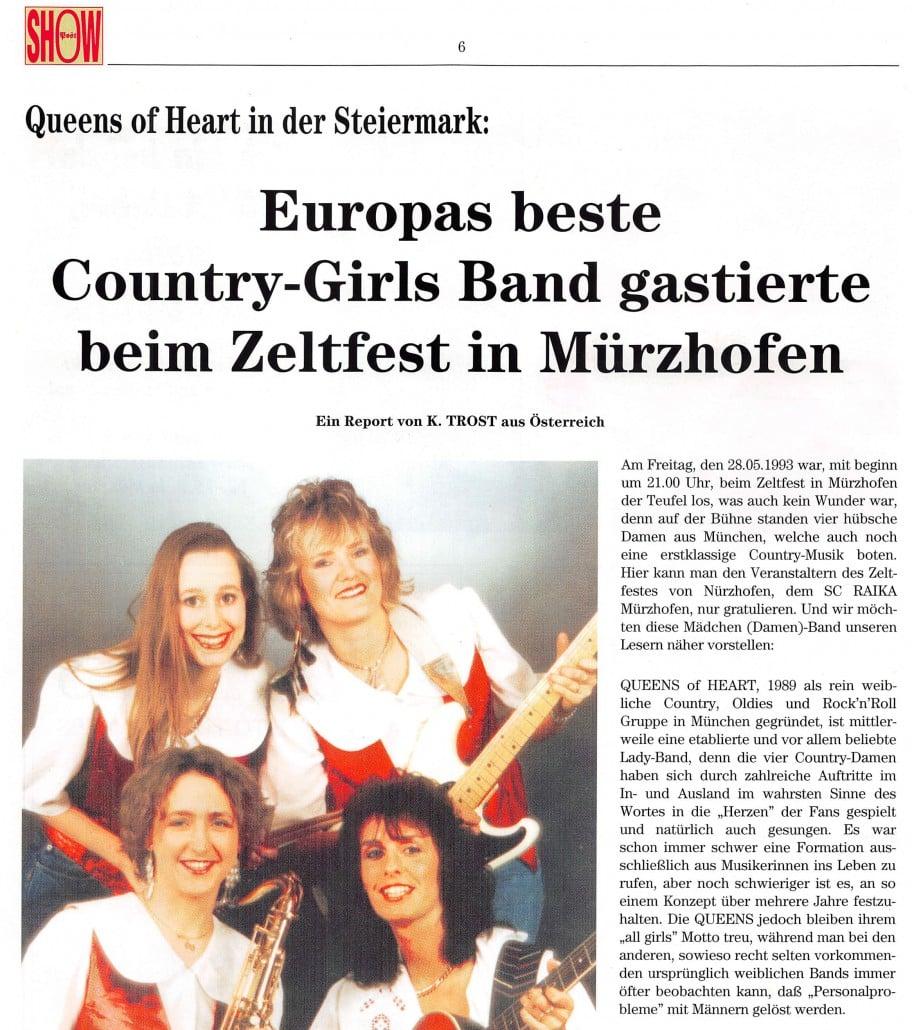 1993 - Showpost - Queens of Heart in der Steiermark