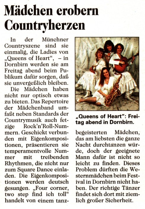 Queens of Heart - 1994 - Dornbirn - Zeitungsbericht