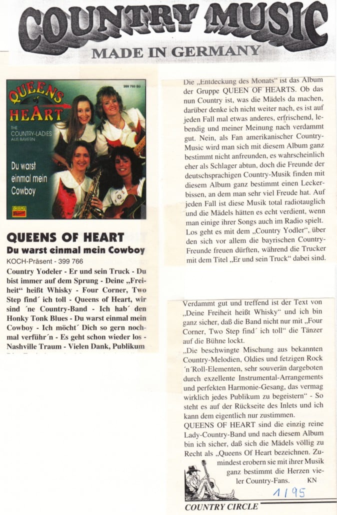 Queens of HEart - 1995 Country Circle CD-Kritik