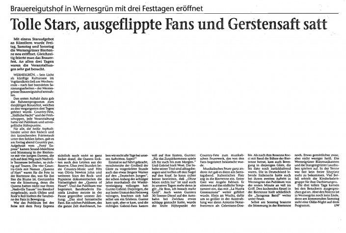 1997 - Queens of Heart - Wernesgrüner - Zeitungsbericht