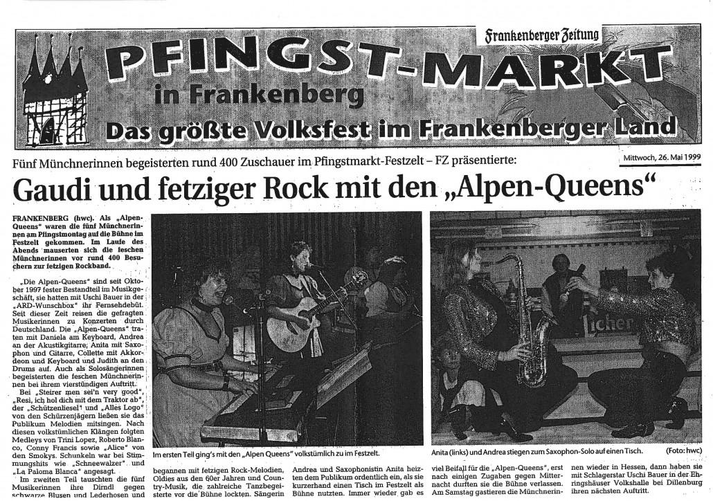 1999 - Frankenberg - Alpen Queens - Zeitungsbericht