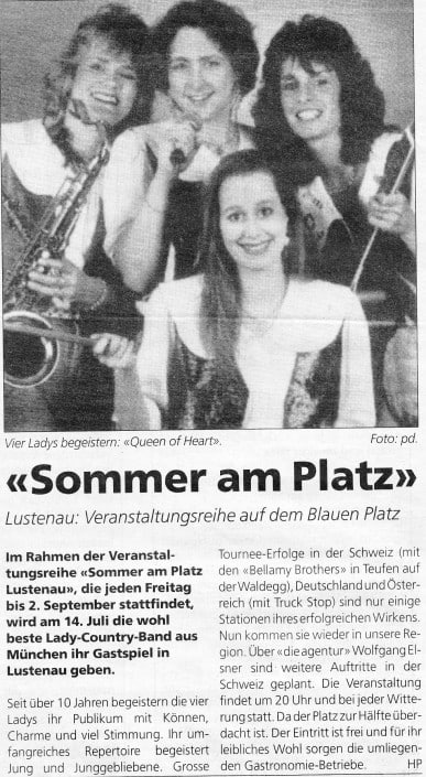Queens of Heart - 2000 - Lustenau - Zeitungsbericht